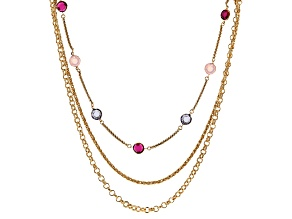 Multi-color Crystal Gold Tone Multi Row Necklace