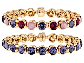 Multi-color Crystal Gold Tone Bangle Bracelet Set of 2