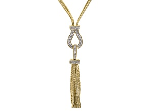 White Crystal Gold Tone Tassel Necklace