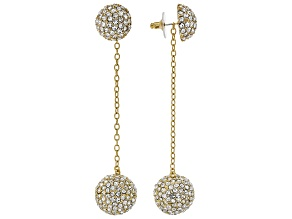 Round White Crystal Gold Tone Interchangeable Earrings