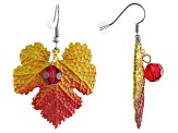 Red Bead Silver Tone Ombre Leaf Earrings