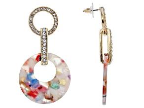 White Crystal Gold Tone Multi-color Resin Earrings
