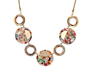 White Crystal Gold Tone Multi-color Resin Necklace