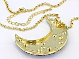 Multi-color Crystal Gold Tone Moon & Star Pendant With Chain
