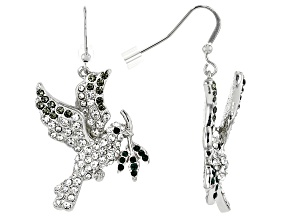 Multi-color Crystal Silver Tone Dove Earrings