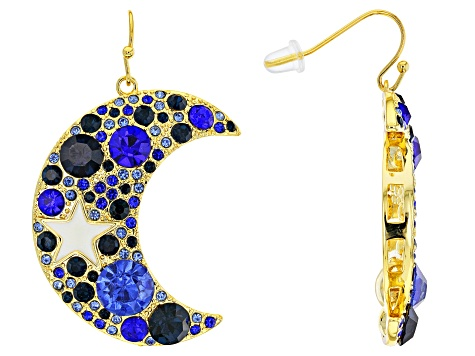 Multi-color Crystal Gold Tone Moon & Star Earrings