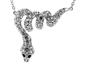 White & Black Crystal Silver Tone Snake Necklace