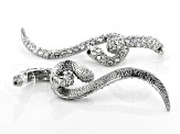 White Crystal Silver Tone Dangle Snake Earrings