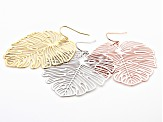 Tri- color Leaf Design Earrings Set of 3
