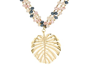 Pastel Beads Gold Tone Multi-row Leaf  Necklace