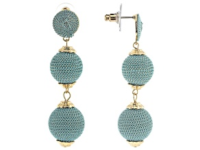 Blue Drop Gold Tone Earrings