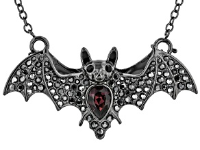 Crystal Gunmetal Tone Bat Pendant/Pin With Chain