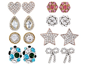 Multi-color Crystal Gold & Silver Tone Set of 8 Stud Earrings.
