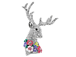 White Crystal Silver Tone Deer Brooch