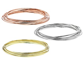 Tri-color Rolling Bangle Set of Three