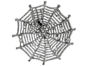 White Crystal Gunmetal Tone Spider Web Brooch