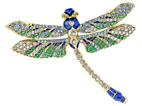 Swarovski Elements ™ Gold Tone Dragonfly Brooch