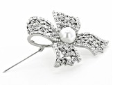 Swarovski™ Elements With  Pearl Simulant Silver Tone Bow Brooch