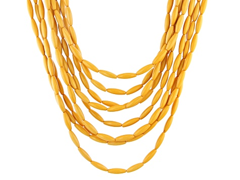 Yellow Bead Gold Tone Multi-Strand Necklace