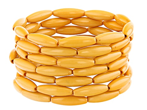 Yellow Marquise Bead Stretch Bracelet Set Of 7