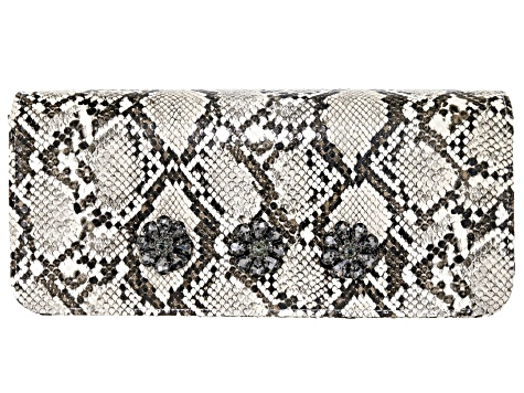 Off Park Collection ™ Gray Faux Snakeskin Clutch With  Gunmetal Crystal Floral Design