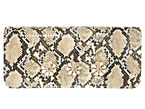 Off Park Collection ™ Tan  Faux Snakeskin Clutch With Champagne Crystal Floral Design