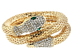 Green and white crystal gold tone mesh snake wrap bracelet