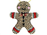 Multi-color Crystal Antique Tone Gingerbread Man Brooch/Ornament