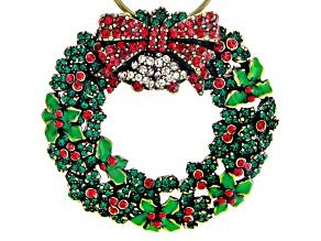 Multi-color Crystal Antique Tone Wreath Brooch/Ornament