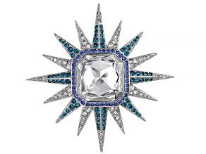 Multicolor Swarovski Elements ™ Silver Tone Celestial Brooch