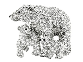 Off Park ® Collection, White, Gray, Black Crystal Silver Tone Mother With Babies Polar Brooch