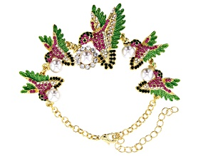 Multi-color Crystal  Hummingbird Bracelet