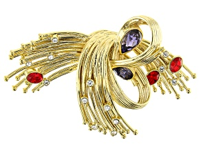 Swarovski Elements ™ Crystal 14K Gold Over Base Metal Brooch