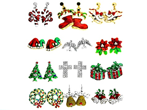 Crystal Gold & Silver Tone Set Of 12 Christmas Theme Earrings