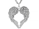 White Crystal Silver Tone Angel Wing Heart Pendant With Chain