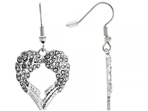 White Crystal Silver Tone Angel Wing Heart Earrings