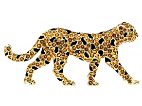 Swarovski Elements™  Crystal, 14K Gold Over Base Metal Leopard Brooch