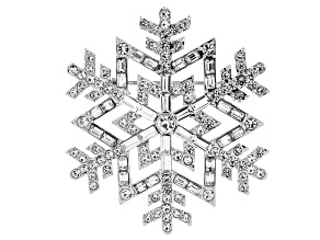 White Crystal Silver Tone Snowflake Brooch