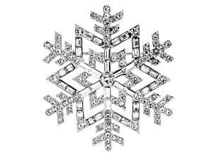 White Crystal Silver Tone Snowflake Brooch