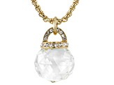 White Crystal Gold Tone Drop Necklace