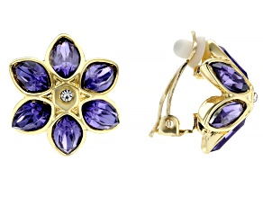 Mutli-color Crystal Gold Tone Clip-on Flower Earrings