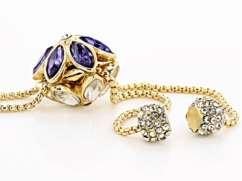 Purple and White Crystal Gold Tone Flower Bolo Necklace