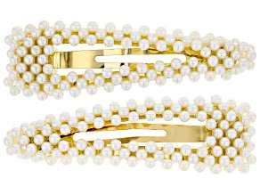 Trendy Gold Tone Pearl Simulant Hair Clips Set Of 2