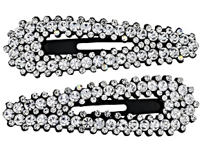 Silver Tone White Crystal Clips Set Of 2