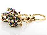 Multi-Color Crystal Gold Tone Unicorn Keychain