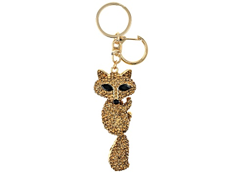 Crystal Gold Tone Fox Keychain