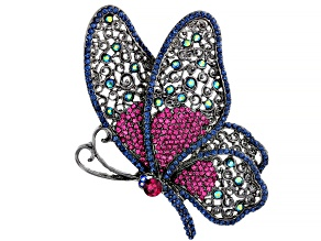 Multi-Color Crystal Gunmetal Tone Butterfly Brooch