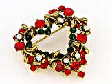 Red And Iridescent Crystal Heart Brooch