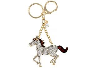 White Crystal Gold Tone Horse Keychain