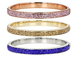 Round Pink, Blue & Yellow Crystal, Tri- color Bangle Bracelets Set of Three